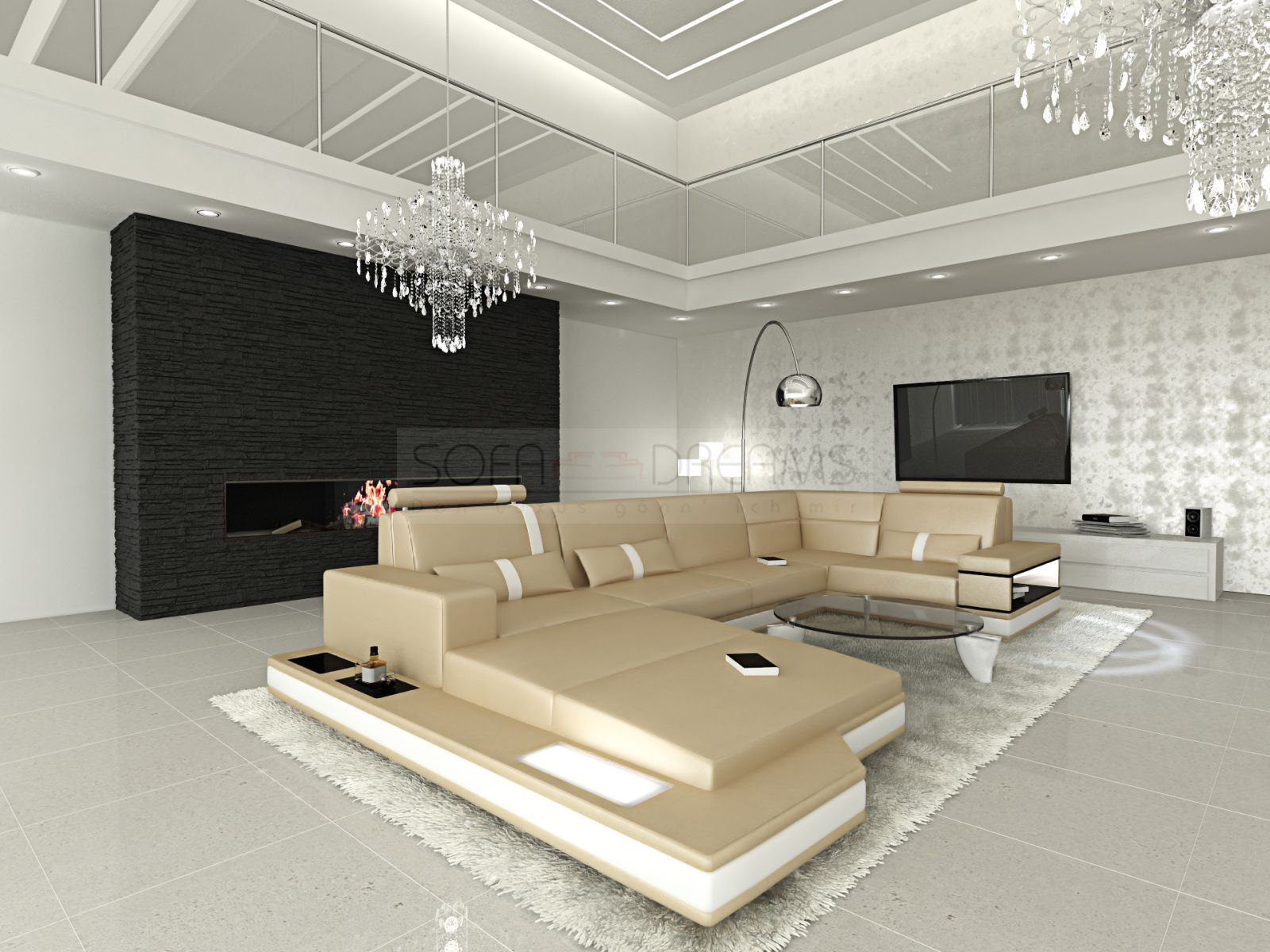 designer sofa. beige brown sofa in luxurious interior setting