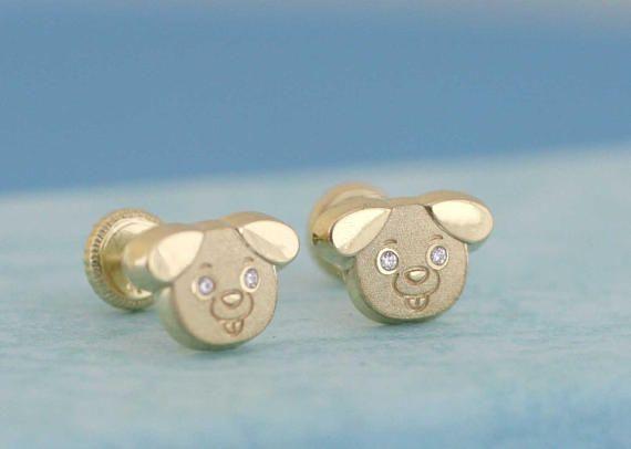 14k Gold Dog Stud Earrings Cute Doggy