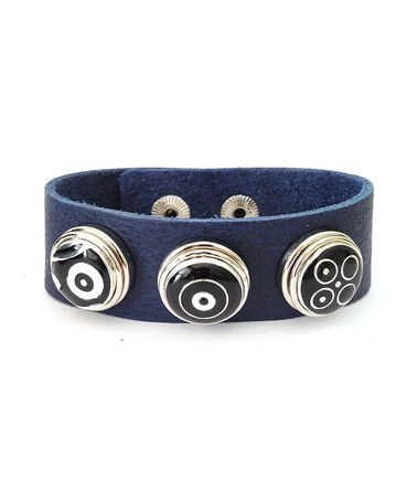 Take a look at this Dark Blue Leather Base Bracelet & Circle Charms by Chunkies Leather Cuffs on #zulily today!
