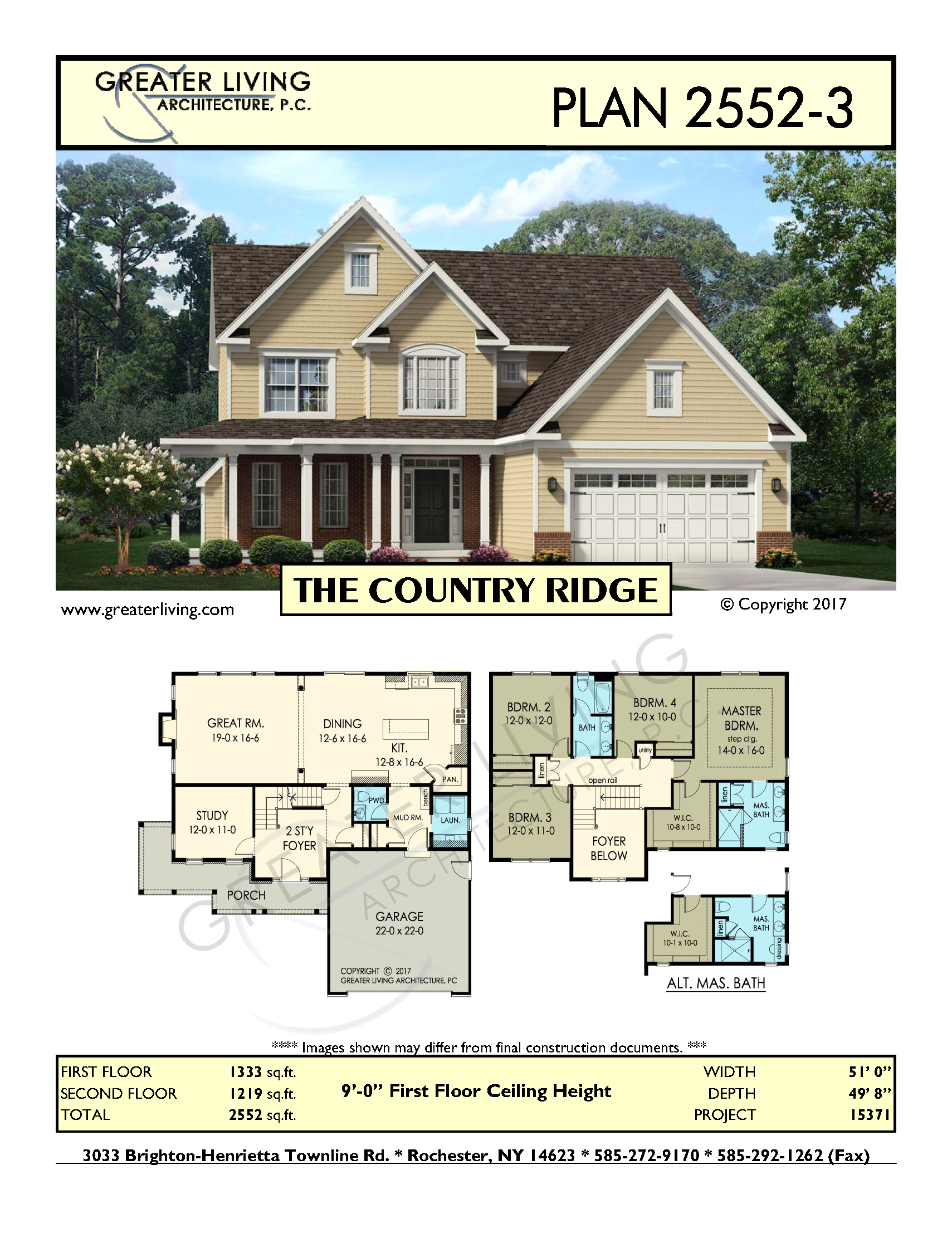 Plan 2552-3: THE COUNTRY RIDGE- Two Story House Plan - Greater ...