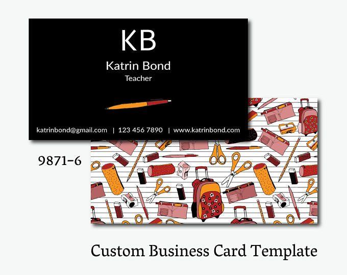 Teacher Business Card Teacher Calling Card Business Card Template