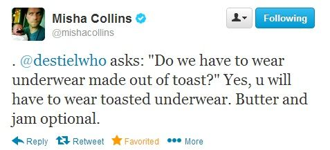 Misha Collins on Twitter about GISHWHES