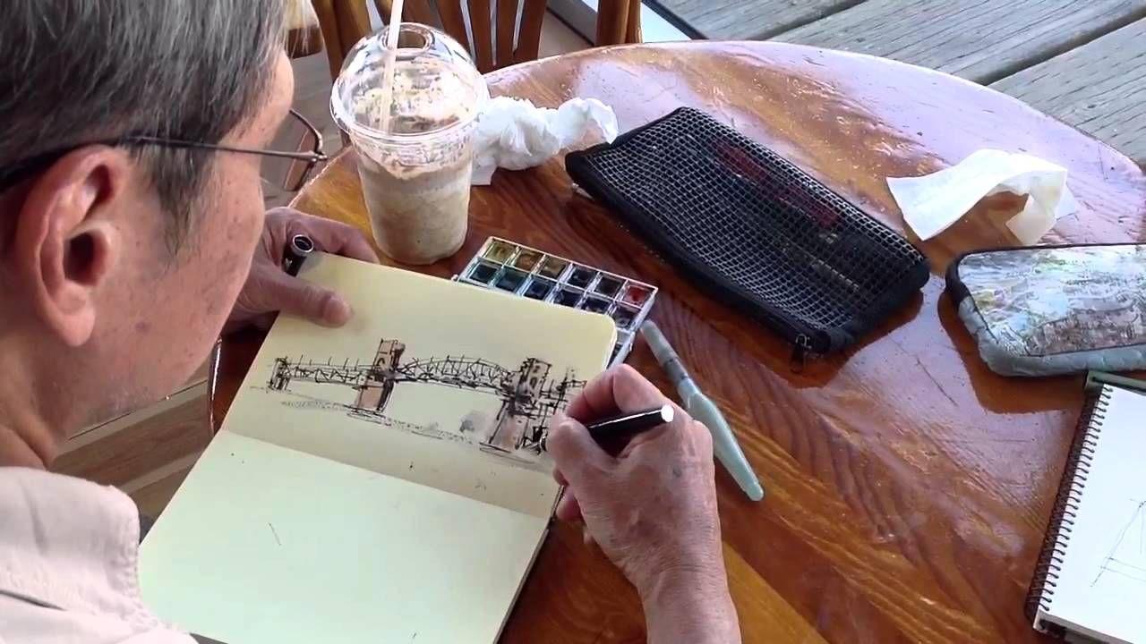 Asnee Tasna Sketching Burrard St. Bridge