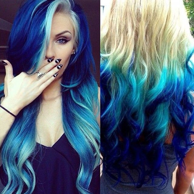 Hot Blue Hair Looks And Ideas With 613a White Blonde Extensions