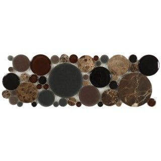 Bubble Twilight B600 Brown Circles Glass and Stone Glossy & Frosted Tile
