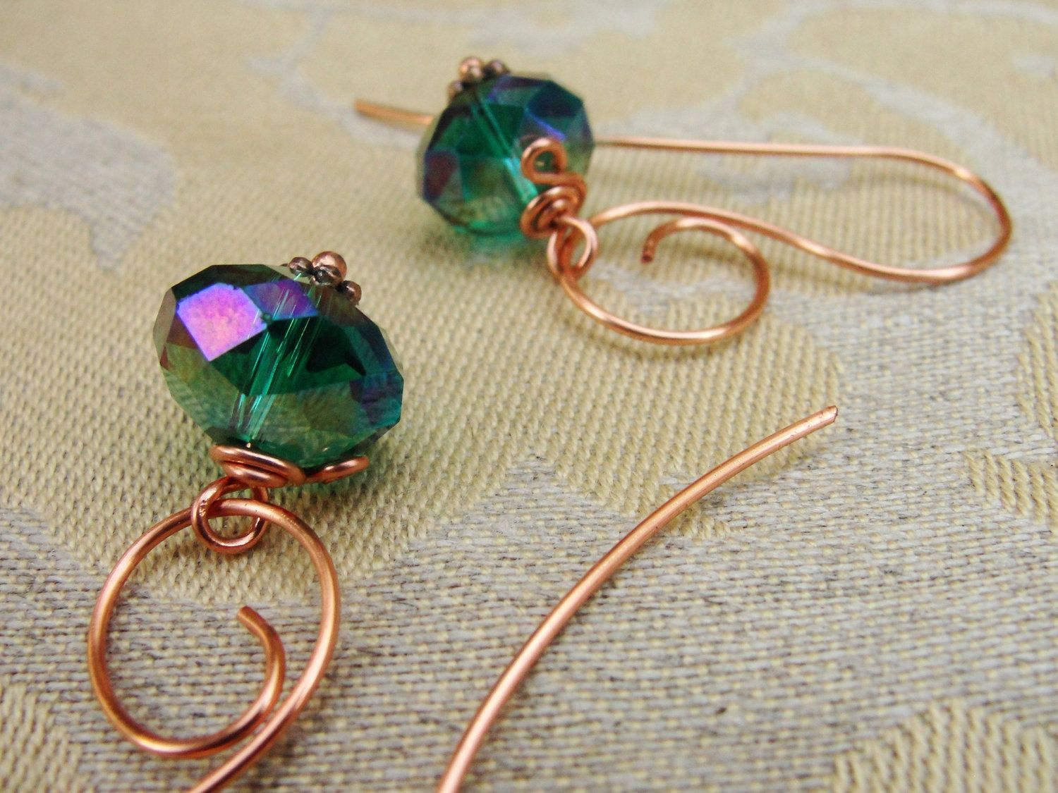 Scrolled Copper Wire Earrings With Wire Wrapped Teal