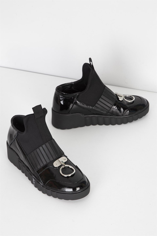 Wire Siyah Rugan Bayan Spor Ayakkabi Ilvi Siyah Rugan Ayakkabilar Ayakkabi Bot