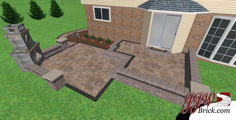 Brick Paver Patio Fireplace Design Troy Mi Outdoor