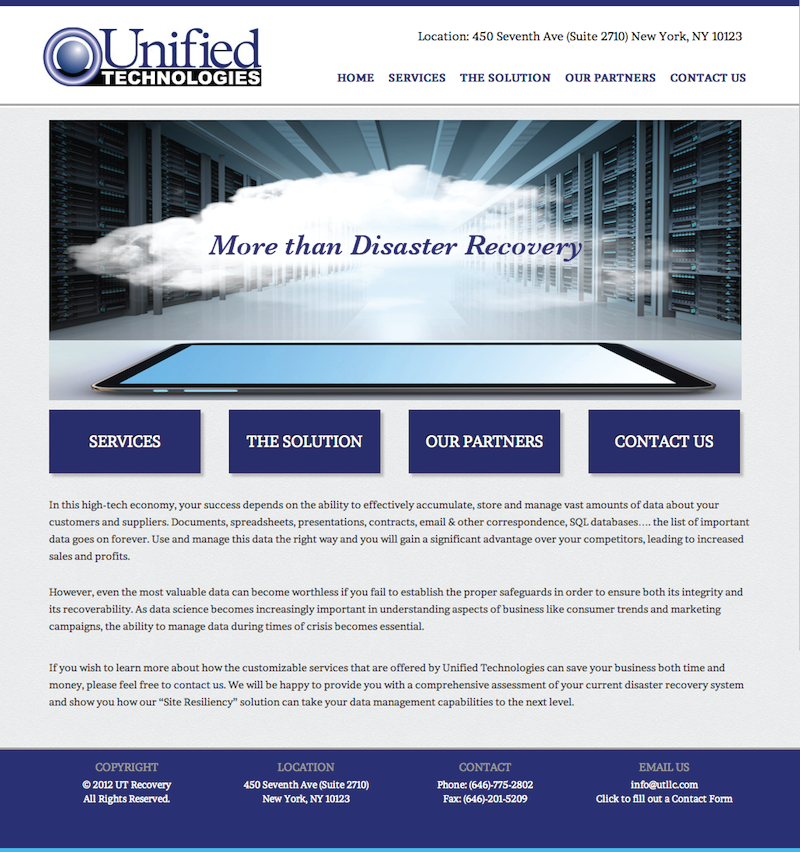Technology / Disaster Recovery Web Design / Blue, Grey, White Color Scheme  For Website