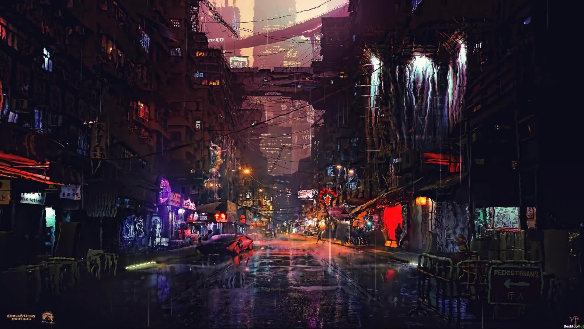 Rain Street 1920x1080 City Lights Wallpaper Futuristic City Digital Wallpaper