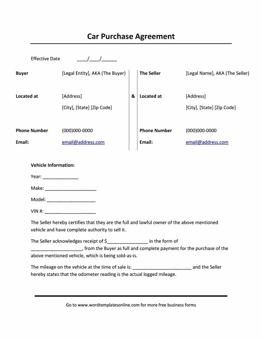 Printable Vehicle Purchase Agreement Templates ᐅ Template Lab For Car Purchase Agreement Template 10 Professional Car Payment Car Purchase Contract Template