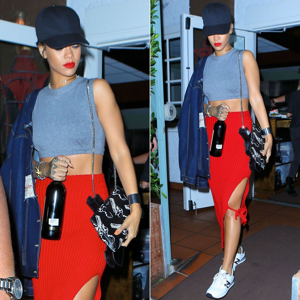 Rihanna wearing Martine Rose oversized denim jacket, Givenchy ...