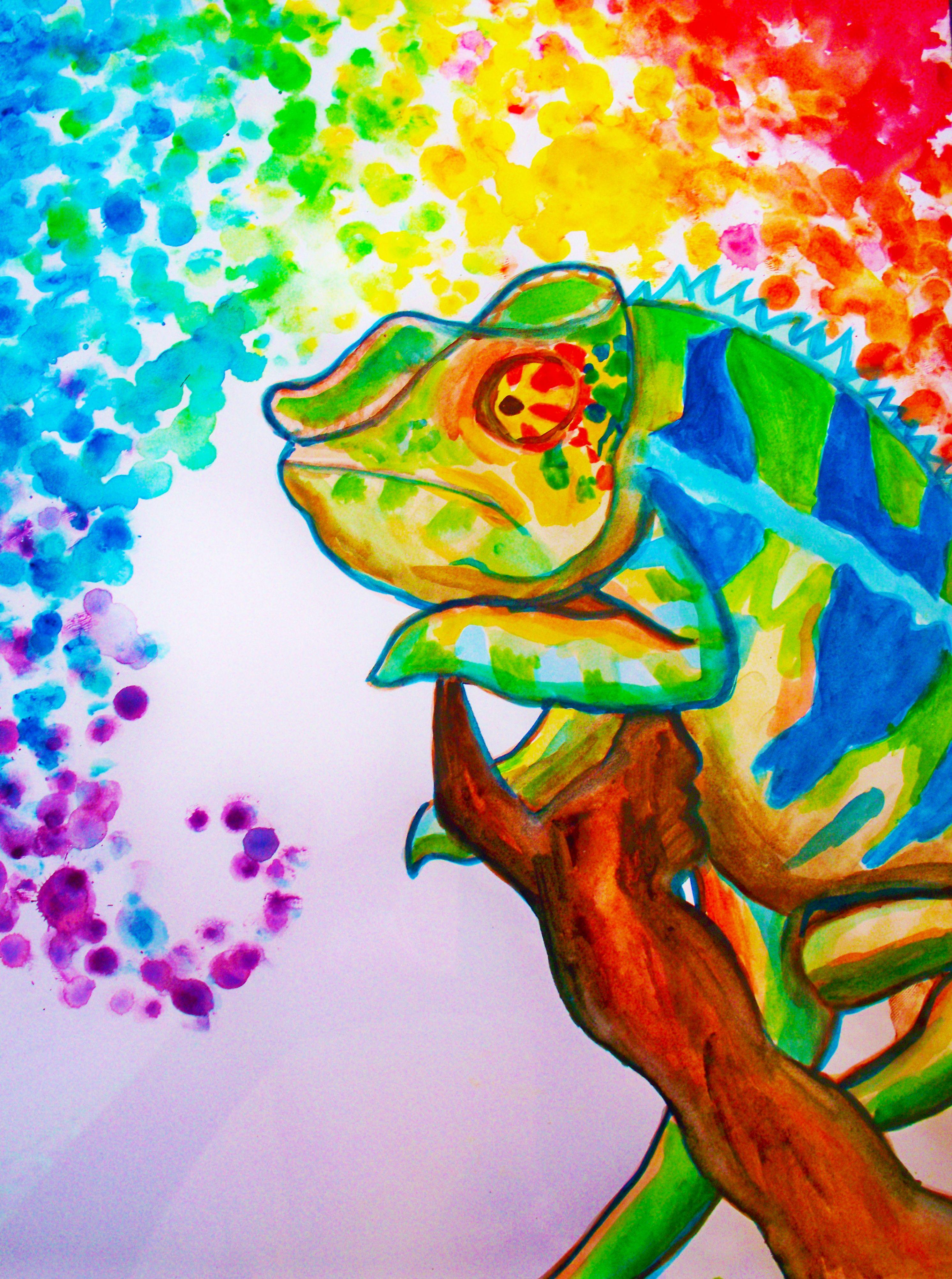 Art Neon Chameleon Paintmyworldrainbow Http