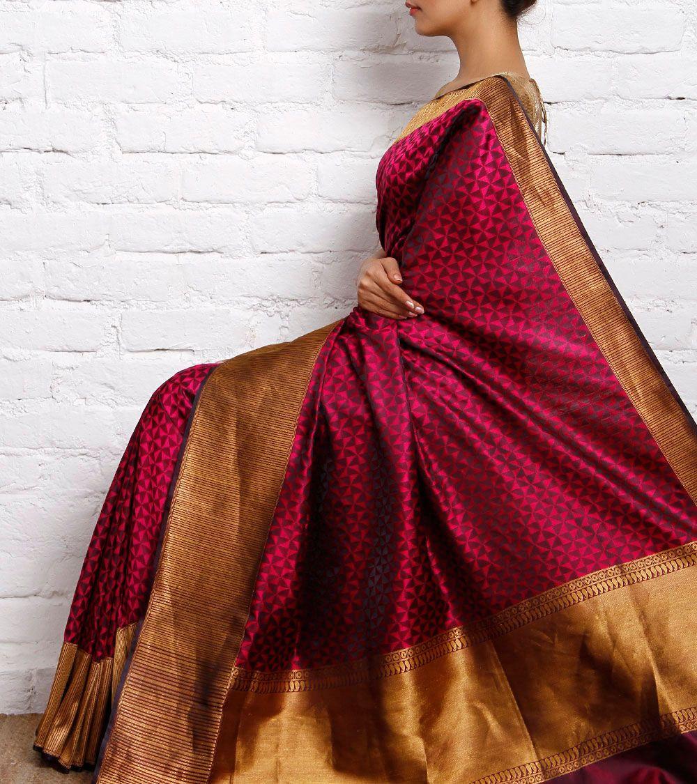 Wine Katan Silk Saree Elegant Saree Saree