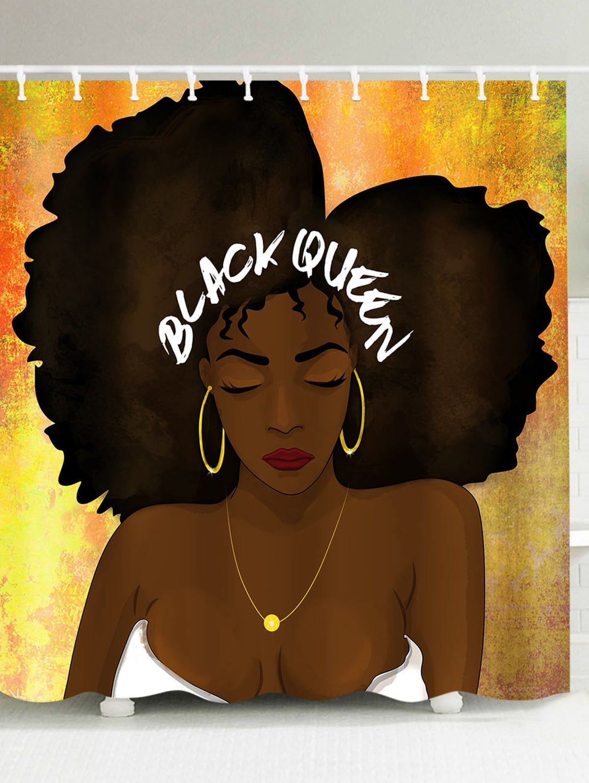 Black Queen Shower Curtain Hip Hop Afro Hair Queen Pattern Shower Curtain Colormix 150