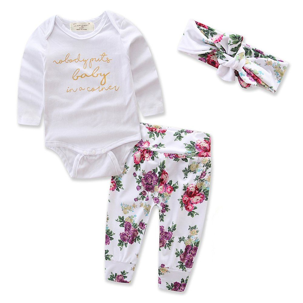 New Long Sleeve Romper Tops+Floral Pants Toddler Baby Girls Outfits Clothes Suit