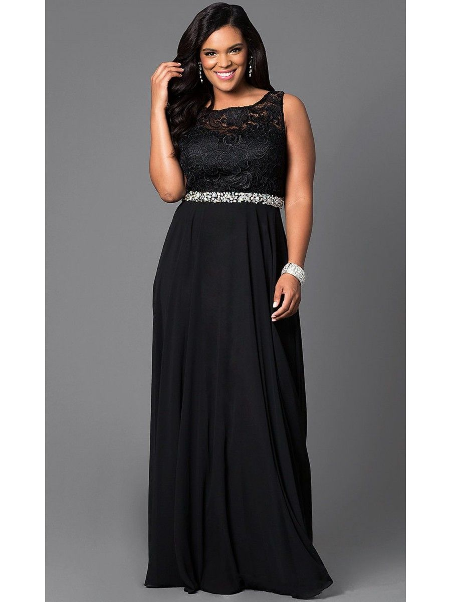 Long Black Beaded Lace Plus Size Prom Evening Dresses 99502012 ...