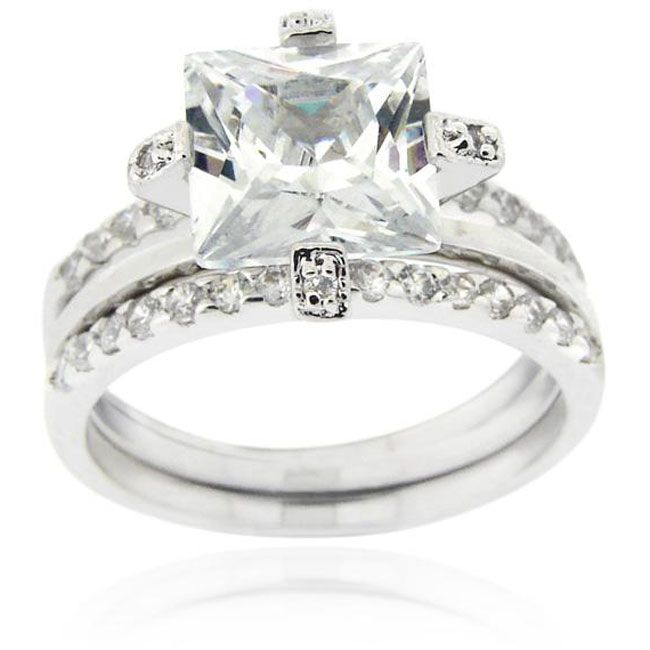 Cubic zirconia bridal ring setSterling silver jewelry