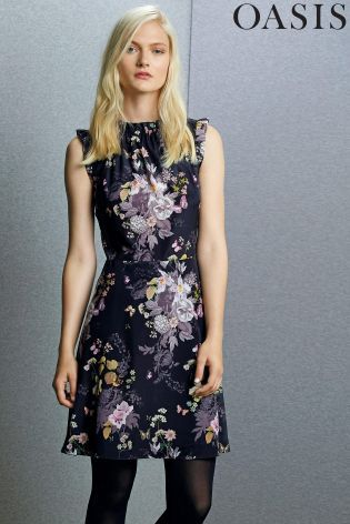 Buy Oasis Black Savage Beauty Trim Skater Dress from the Next UK ...