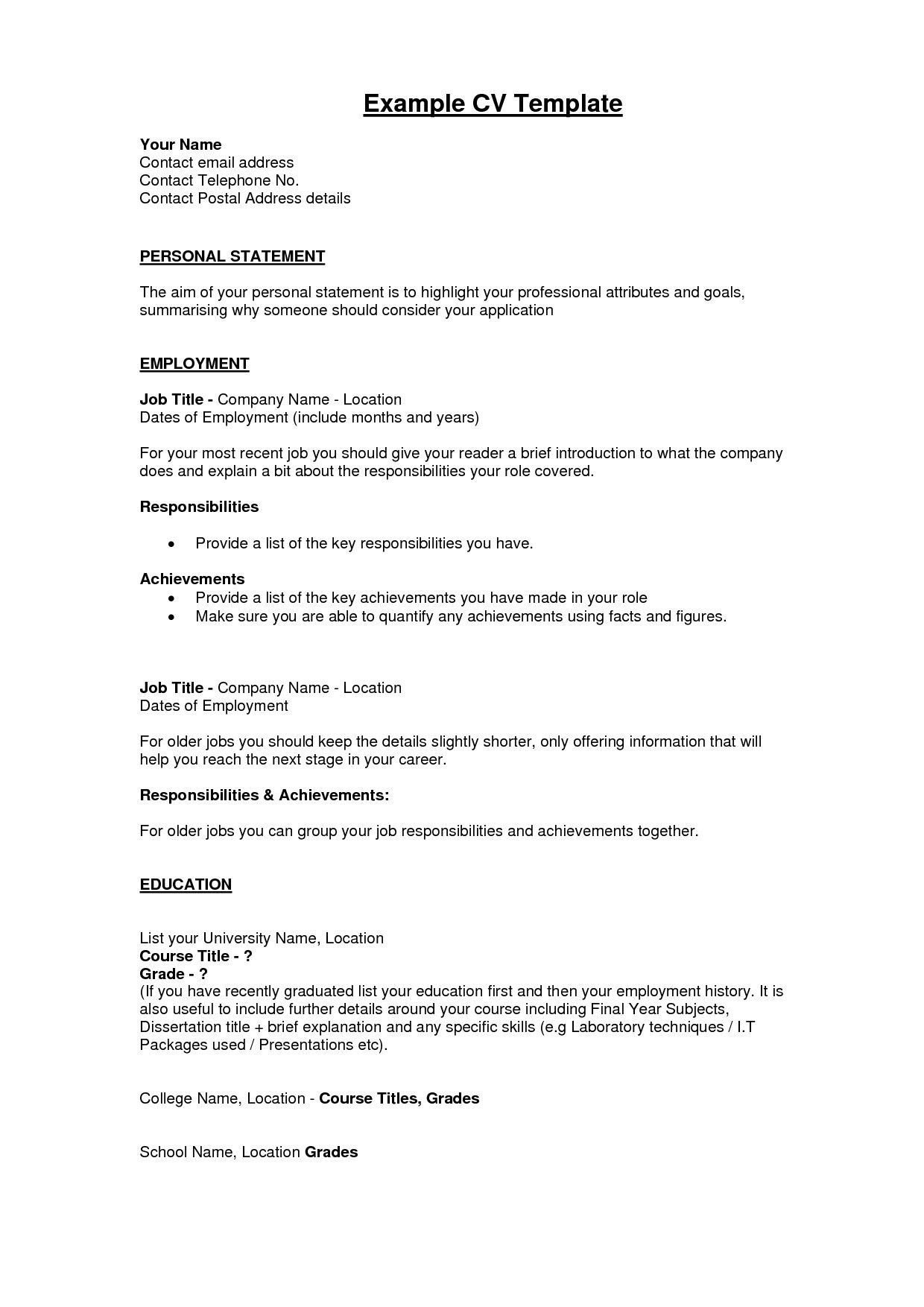 69 inspiring collection of example of resume after college