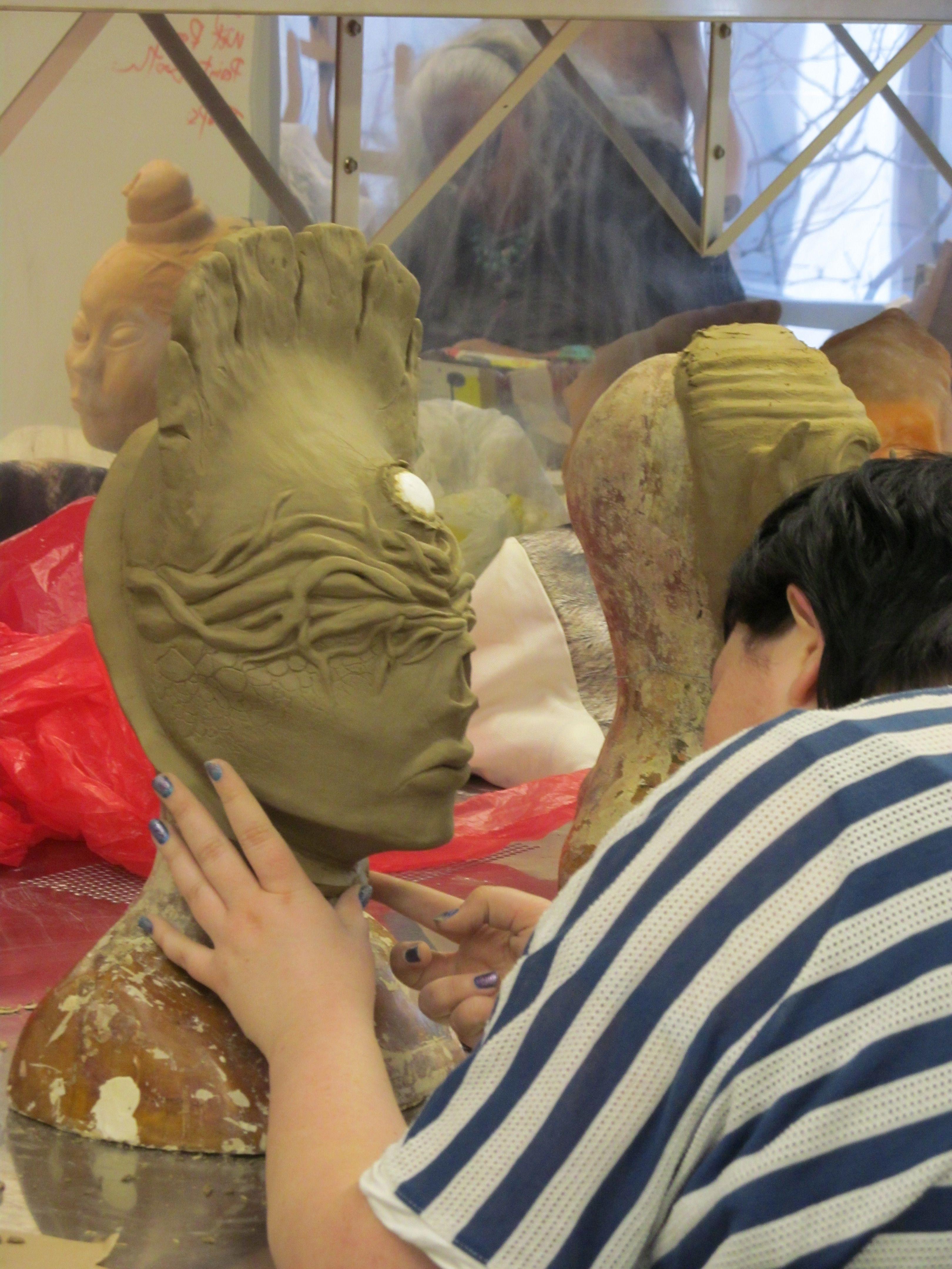 half mask sculpting in progress SFX @ Cut Above Academy