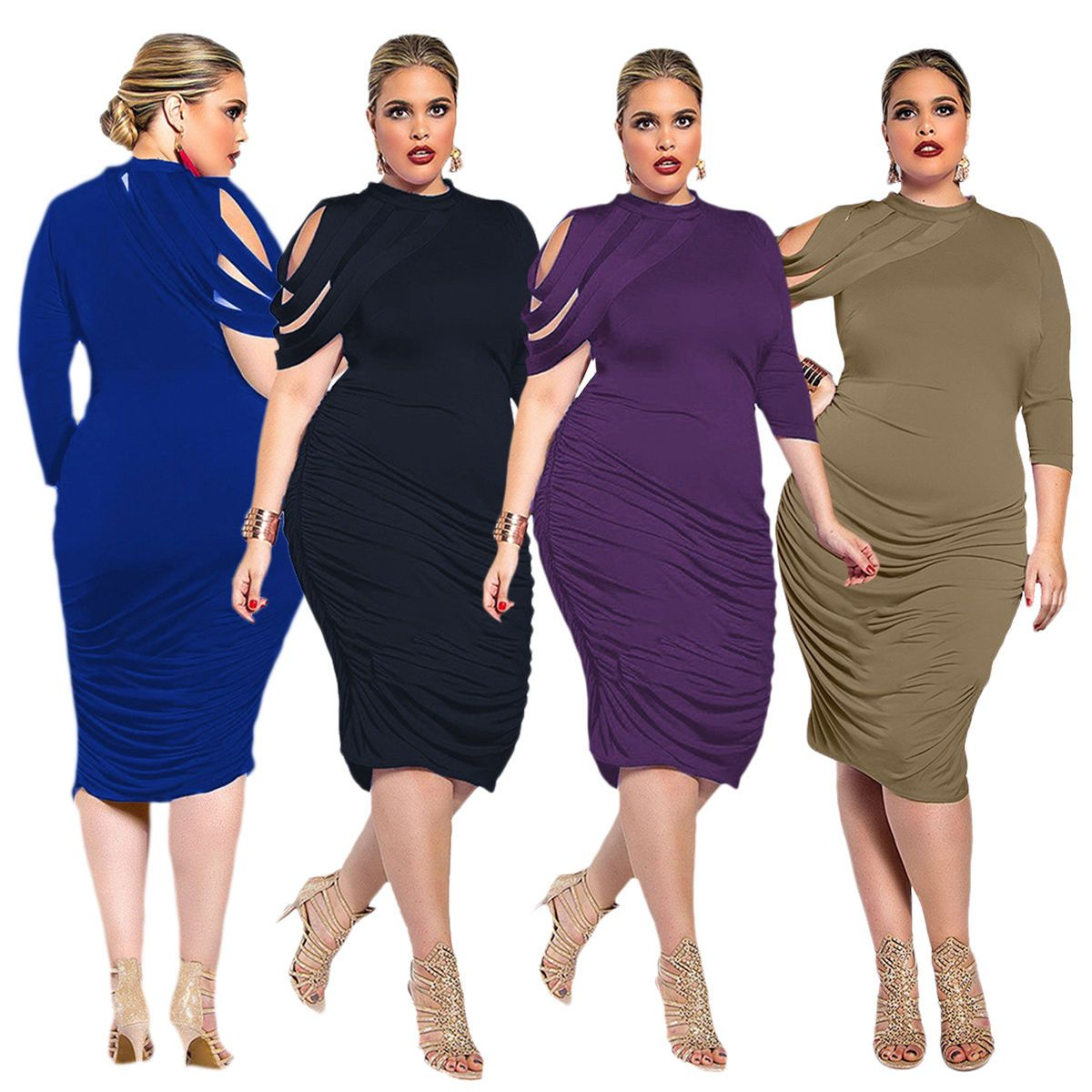 Nice Awesome Women Bodycon Dress Plus Size Short Sleeve Party ...
