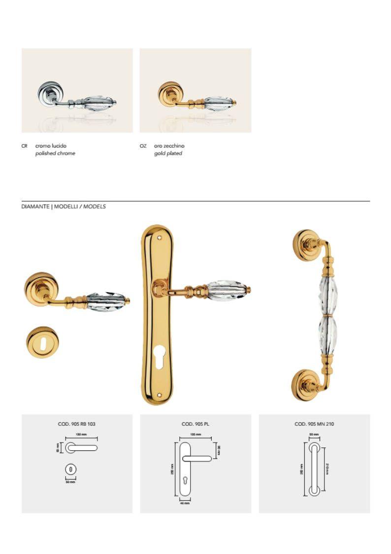 Diamante Modern Brass Door Handles With Swarovski Crystal In 2020