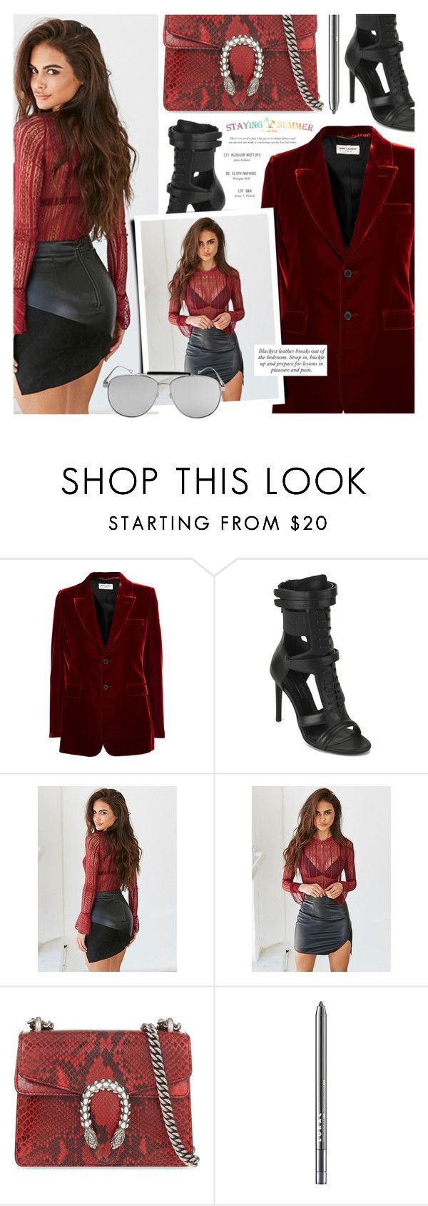"""""""Untitled #1693"""" by noviii ❤ liked on Polyvore featuring Yves Saint Laurent, BOSS Black, Gucci and LORAC"""