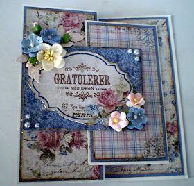 Denne gangen har jeg et brettekort laget med Maja Design å vise frem. Dette er også laget i serien Vintage Romance. Malen på dette kortet ha...