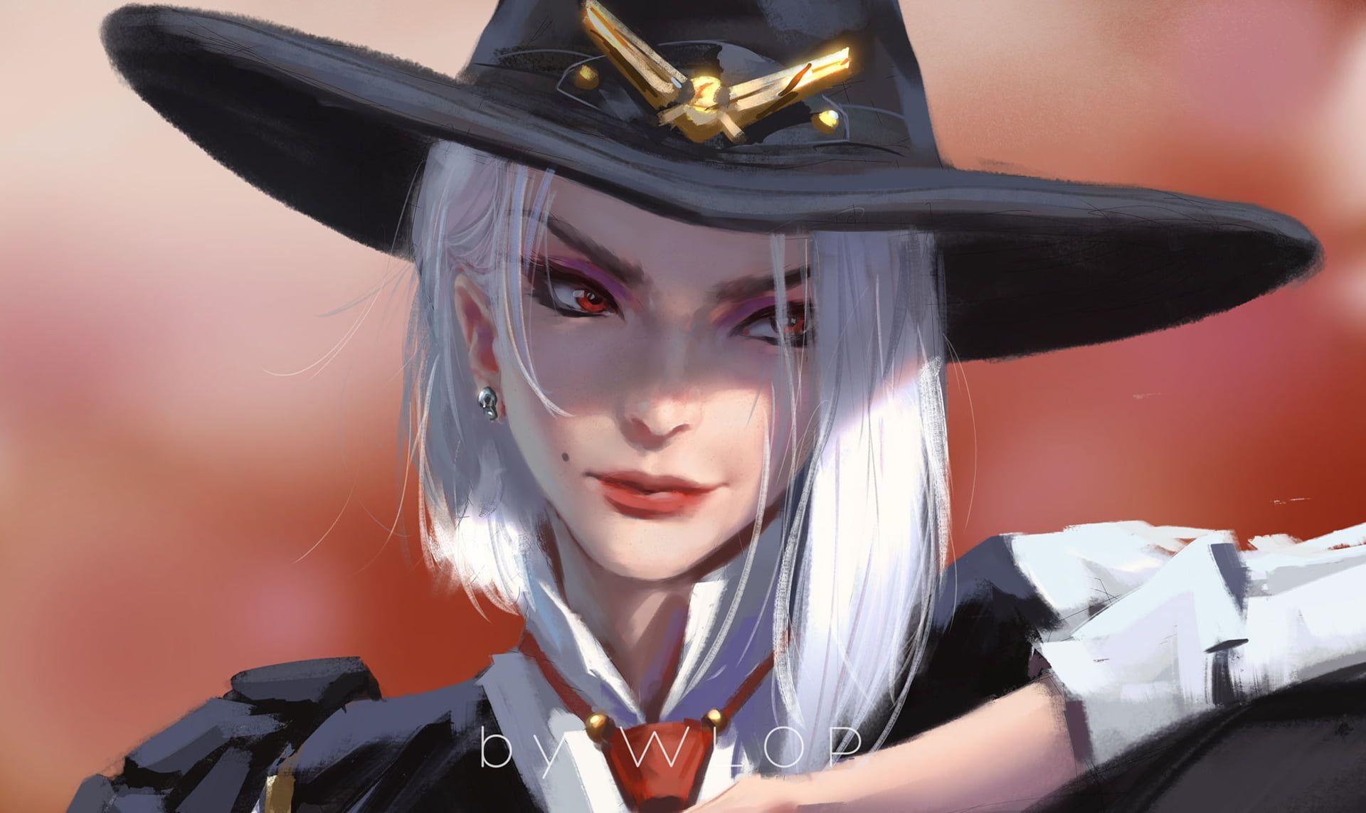 Ashe (Overwatch) white hair red eyes Overwatch artwork