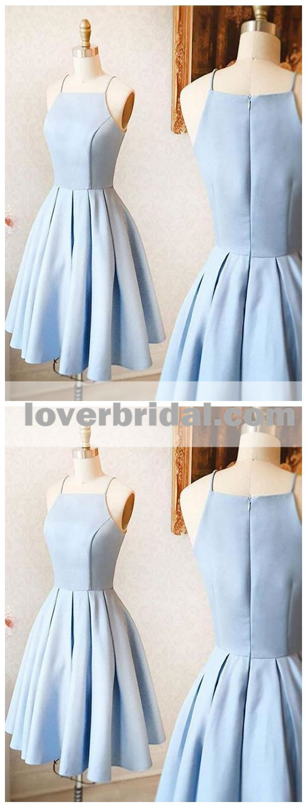 Simple light blue spaghetti straps short homecoing dresses under