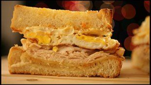 This is soooo good, so simple.  Turkey and cheese on toasted bread with a fried egg, oh my!