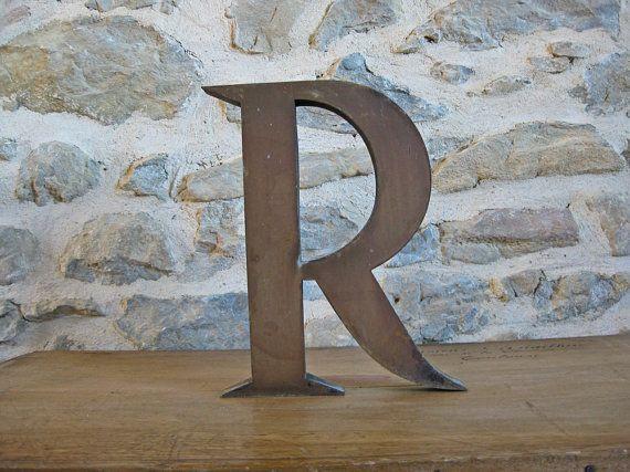 Large Metal Letter R Large Metal Letter R  French Store Sign Letter R  Vintage