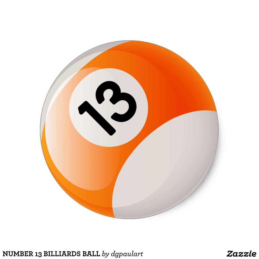 Pegatina redonda bola de billar del número 13  f944cf6387def
