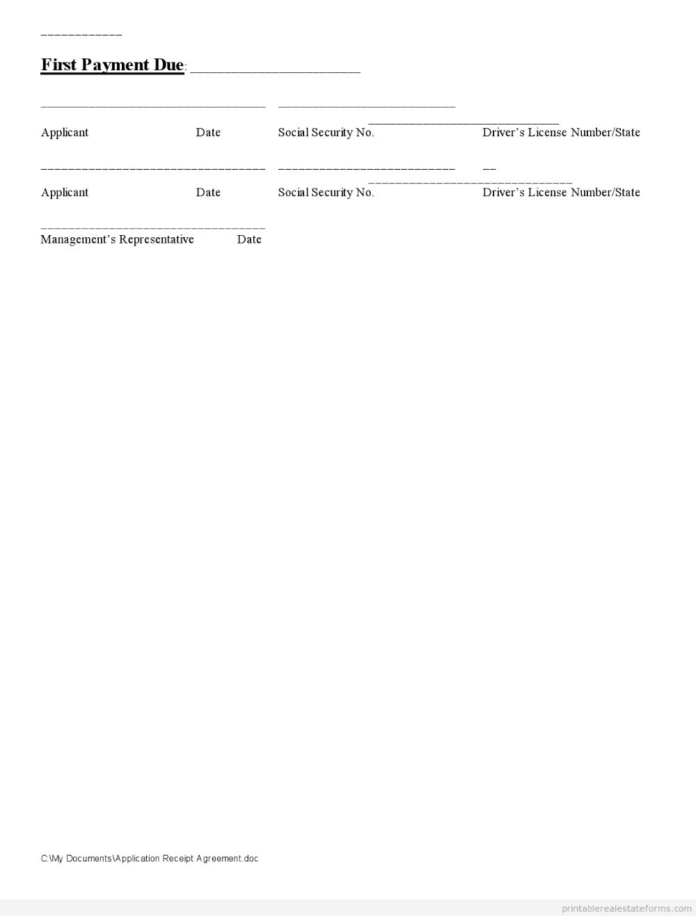 Free Printable Application Receipt Agreement Form Pdf In 2020 Word Template Real Estate Forms Templates