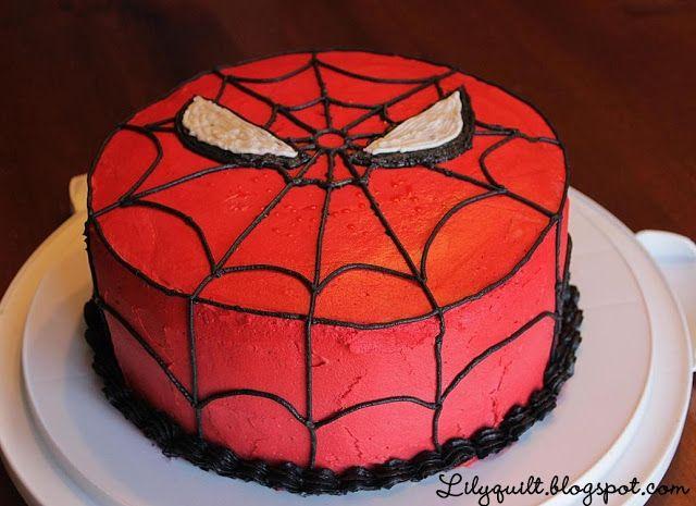 Lilyquilt SpiderMan Birthday Cake Tutorial Boys bday ideas