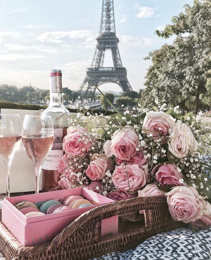 pink, macaroons, flowers, champagne, Paris -