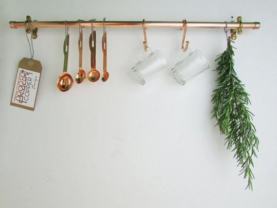 Handmade Copper Pot And Pan Rack Rail Pan Organizer Kitchen Storage Utensil Storage Holder