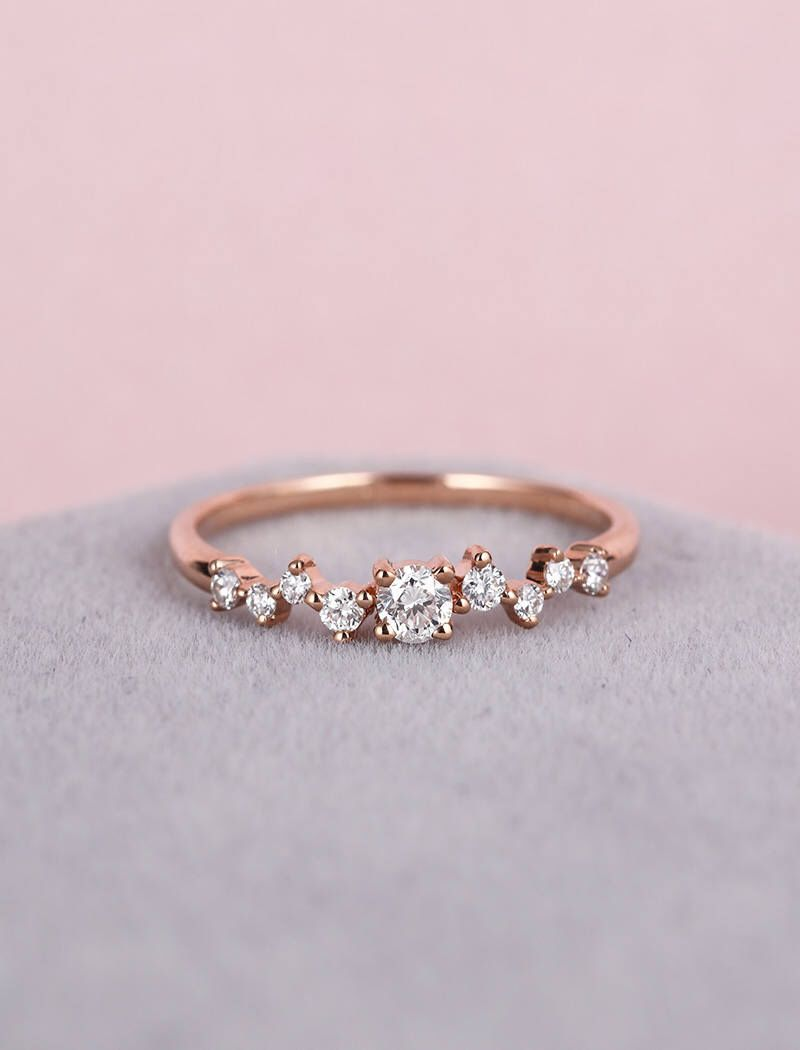 Solid Real Natural Flower Diamond Ring 14K White Gold 0.21CT Handmade Floral Style Fancy Ring For Women Easter Gifts Daily Wear Rings