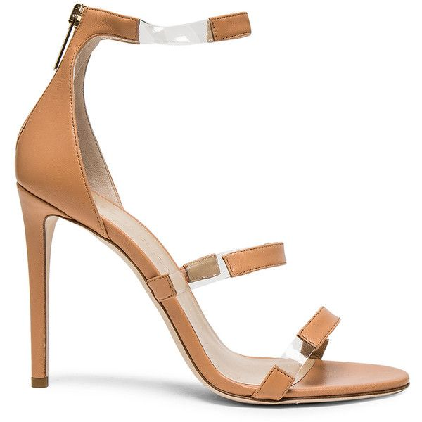 Tamara Mellon Leather Frontline Heels (8.026.550 IDR) ❤ liked on Polyvore featuring shoes, pumps, heels, leather shoes, clear high heel shoes, tamara mellon, genuine leather shoes and clear shoes