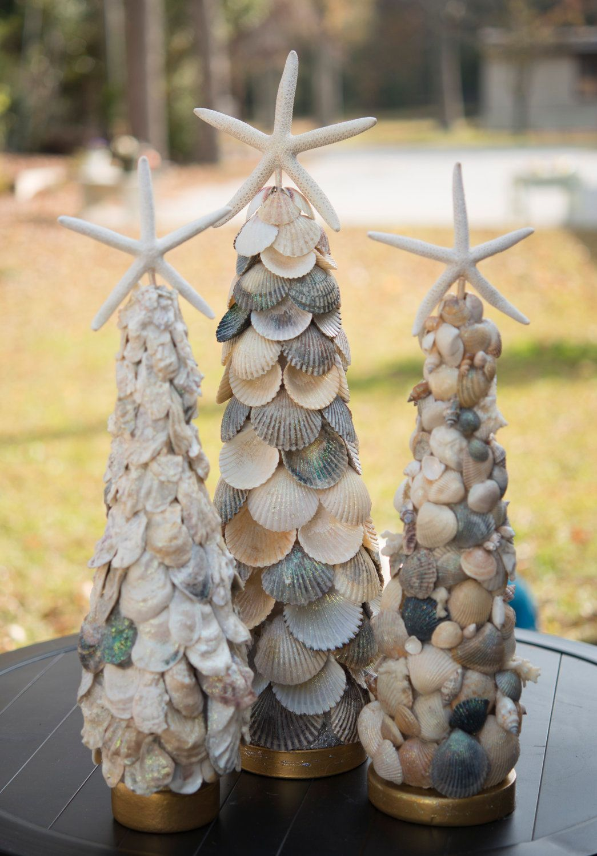 Sea shell christmas ornaments - Elegant Seashell Christmas Tree With Oysters Shells 59 95 Via Etsy