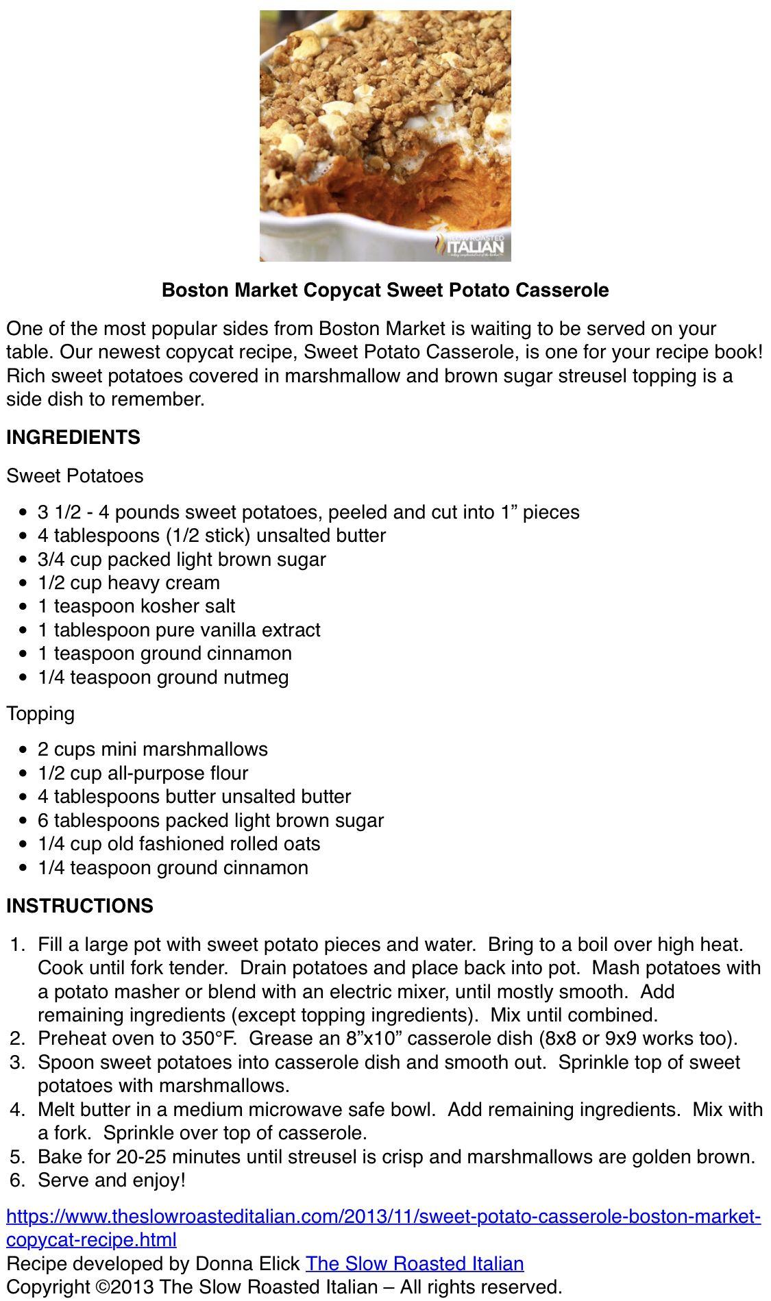 Boston Market Sweet Potatoes (With images) Sweet potato