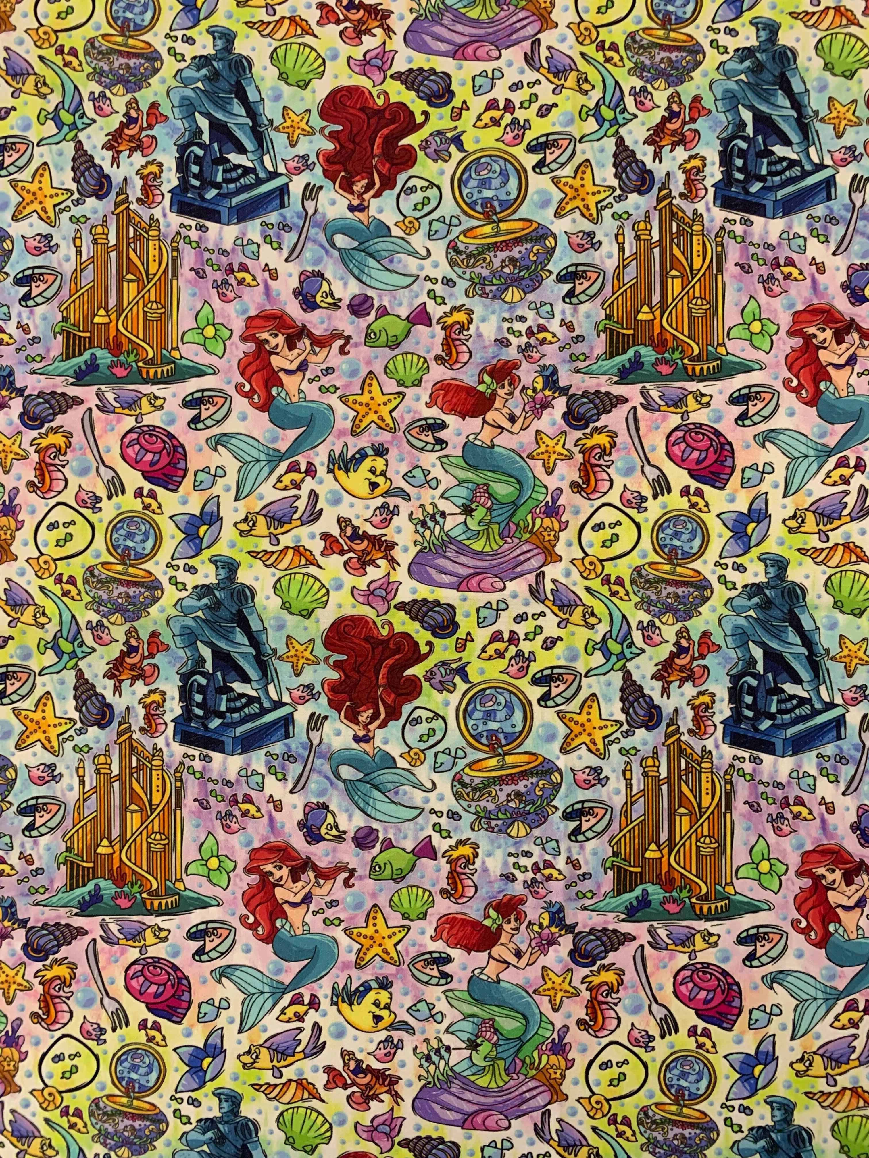 The Little Mermaid Fabric Disney Fabric Disney Wallpaer Ariel Princess Wallpaper Iphone Disney