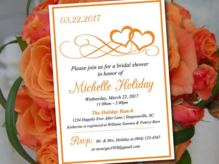 Heart Bridal Shower Invitation Template Heart Wedding Shower