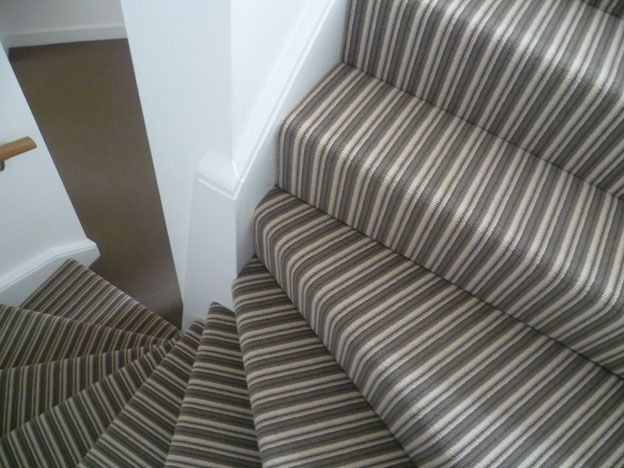 Cormar Avebury Close Cover Fitted to Double Staircase with Coordinating  Landings to Match the Central Colour Stripe on Carpet.