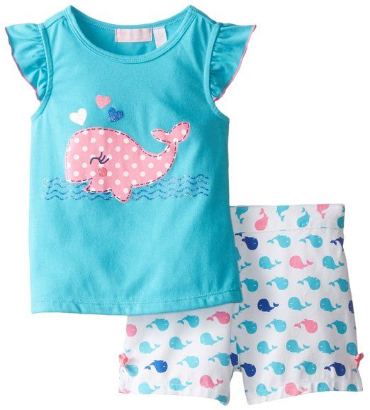 Kids Headquarters Little Girls' Tee with Whale and Printed Shorts, Blue, 2T