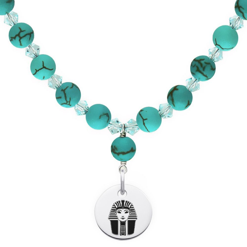 Phi sigma sigma symbol turquoise necklace with circle charm phi sigma sigma symbol turquoise necklace with circle charm buycottarizona Gallery