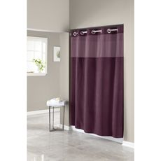 HooklessR Waffle Aubergine 71 W X 74 L Fabric Shower Curtain And Liner Set