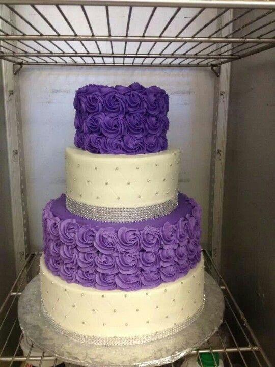 Purple flowers and bling cake | Cakes | Cake, Wedding cake ...