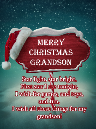 North Pole Sign Merry Christmas Card For Grandson Birthday Greeting Cards By Davia Christmas Card Sayings Christmas Wishes Quotes Christmas Verses